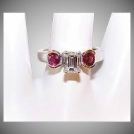 ESTATE 14K Gold, .50CT Diamond & .50CT TW Ruby Engagement Ring!
