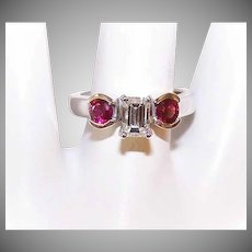 ESTATE 14K Gold, .50CT Diamond & .50CT TW Ruby Engagement Ring!
