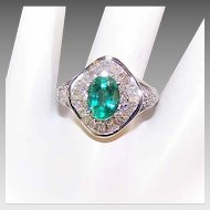18K Gold, 1.25CT Emerald & .60CT TW Diamond 3 Tier Cocktail/Engagement Ring!