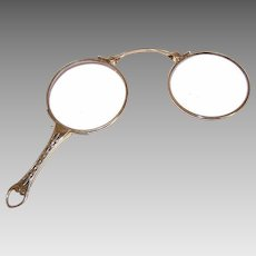 ANTIQUE EDWARDIAN 14K Gold Lorgnettes with Cutwork Handle & Original Lenses!