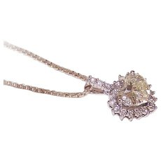 "ESTATE 14K Gold, 1 CT ""Faint Yellow"" Diamond (Heart Shape) with .17CT TW Halo Diamonds!"