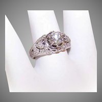 14K Gold 1.00CT TW Diamond Engagement Ring with HEARTS