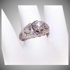 EDWARDIAN REVIVAL 14K Gold, .73CT Diamond and .27CT TW Shoulder Diamonds Engagement Ring with HEARTS!