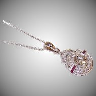 ART DECO Lavaliere Pendant - Platinum, .65CT Center Diamond, .35CT TW Ruby & Diamond Shoulder Stones!