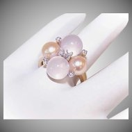 RETRO MODERN 14K Gold, Moonstone, Golden Cultured Pearl & Diamond Cocktail Ring!