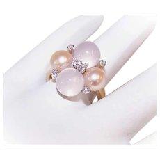 RETRO MODERN 14K Gold, Moonstone, Golden Cultured Pearl & Diamond Cocktail Ring!