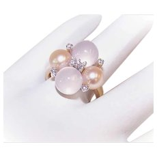 RETRO MODERN 14K Gold Ring - Yellow Gold, Moonstone, Golden Cultured Pearl, Diamond Cocktail Ring