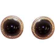 CLASSIC Vintage 14K Gold & Black Onyx Pierced Earrings - Round Cabs!