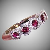 Vintage 14K Gold, .55CT TW Diamond & .30CT TW Ruby Wedding Band or Cocktail Ring!