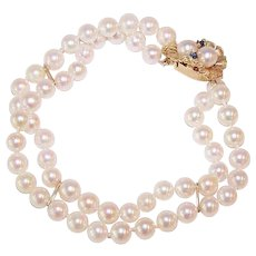 Vintage 2-Strand CULTURED PEARL Bracelet with 14K Gold & Sapphire Clasp!