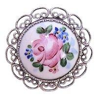 Russian Finift Silvertone Metal Enamel Porcelain Floral Brooch