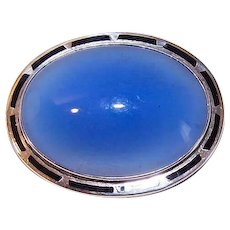 ART DECO Sterling Silver Pin - Black Enamel Edge - Blue Chalcedony Center - Oval Design