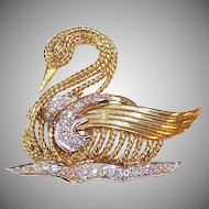 ESTATE 14K Gold & 1CT TW Diamond Pin - Swan Gliding Upon a Lake!