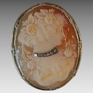 ART DECO 14k Gold, Diamond & Cornelian Cameo Pin/Pendant Combo!