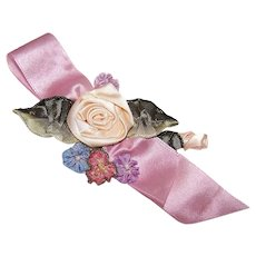 C.1950 French Ribbon Work Applique - Lengthy Floral Spray on Satin Ribbon - Cream/Blue & Lavender!