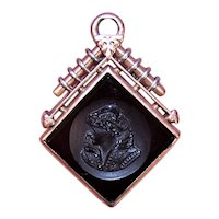 Victorian 14K Rose Gold Elizabethan Lady Glass Intaglio Watch Fob Charm