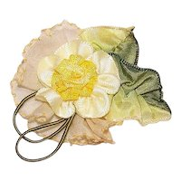 Vintage French Ribbonwork Yellow Floral Applique