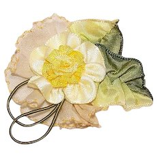Vintage FRENCH RIBBONWORK Ribbon Rose Applique/Embellishment - Yellow Satin & Organza w/Wired Edge Leaves!