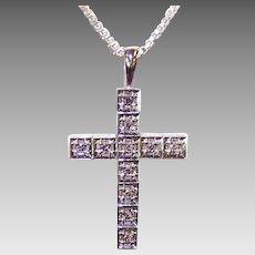 ESTATE 14K Gold & .30CT TW Articulated Diamond Cross Pendant!