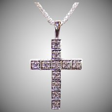 ESTATE 14K Gold & .30CT TW Articulated Diamond Cross Pendant!