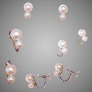 ESTATE 14K Gold & 4.5mm/6.5mm Cultured Pearl Screwback Earrings!
