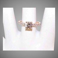 GIA 14K Rose Gold, 1.01CT Diamond & .42CT TW Halo Diamonds Engagement Ring!