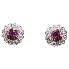 Estate 14K Gold, .56CT TW Rhodolite Garnet & .36CT TW Diamond Halo Earrings