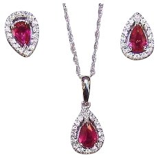 Vintage 14K Gold, 2 CT TW Ruby & Diamond Set - Pendant with Chain & Matching Earrings (Pierced)!