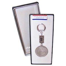 Swank C.1884 Morgan Silver Dollar Key Ring Key Chain with Original Box