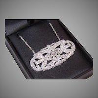 Art Deco Platinum 4.85CT TW Diamond Pendant Necklace