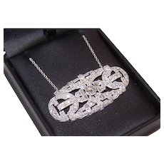 Art Deco Platinum 4.85CT TW Diamond Pendant Necklace