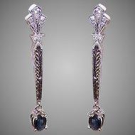 ART DECO Revival 14K Gold, 1CT TW Sapphire & .24CT TW Diamond Drop Earrings!