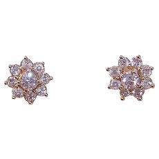 ESTATE 14K Gold, 1CT TW Halo Earring Jackets with .50CT TW Diamond Studs!
