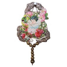 VICTORIAN REVIVAL Christmas Ornament - Victorian Die Cut, Tinsel, Glass Beads - Angel, Cupid, Putti!