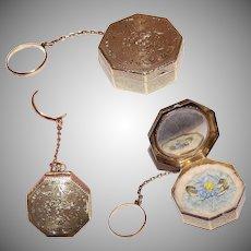 ART DECO 14K Gold Powder Box/14K Gold Pill Box/14K Gold Powder Compact with Finger Ring & Original Puff - Basket of Flowers Design!