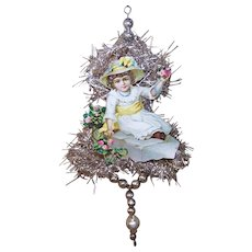 VICTORIAN REVIVAL Christmas Ornament - Victorian Die Cut, Tinsel, Glass Beads - Little Girl with Roses!