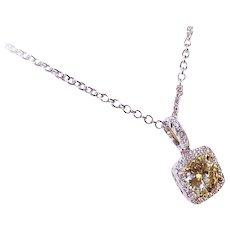 Estate 18K Gold & .94CT FANCY YELLOW Diamond Pendant with .30CT TW Diamond Halo!