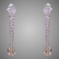 Art Deco Revival GIA 14K Gold & 2.07CT TW Diamond Drop Earrings!
