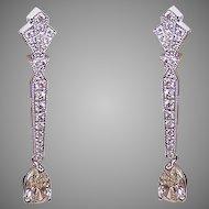 Art Deco Revival GIA 14K Gold & 2.07CT TW Diamond Drop Earrings!