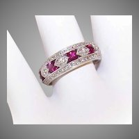 ART DECO Revival 14K Gold, 1.28CT TW Ruby & Diamond Wedding Ring - Wedding Band!
