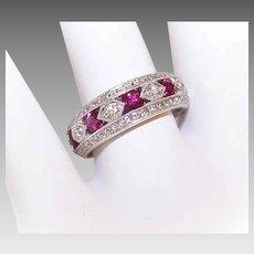 ART DECO Revival 14K Gold, 1.28CT TW Ruby & Diamond Wedding Ring - Wedding Band!