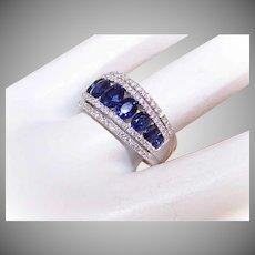 ESTATE 14K Gold, 1.98CT TW Sapphies & .47CT TW Diamond Wedding Band/Wedding Ring!