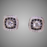 Estate 14K Gold .80CT TW Diamond Studs with .66CT TW Black Diamond Ear Jackets