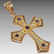 Vintage 18K Gold & .15CT TW Blue Sapphire Filigree Cross Pendant - Religious Cross!