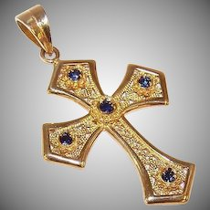 Vintage 18K Gold & .15CT TW Blue Sapphire Filigree Cross Pendant - Religious Cross!