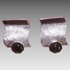 RETRO MODERN Sterling Silver & Black Star Sapphire Cufflinks - Cuff Links!