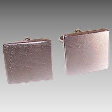 Vintage STERLING SILVER Cufflinks - Square, Brushed Silver Top, No Engraving, No Monogram