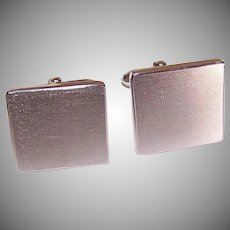 Vintage STERLING SILVER Cufflinks - Square, Brushed Silver Top, No Engraving, No Monogram