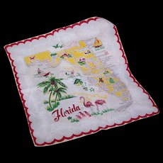 Vintage Cotton HANDKERCHIEF - State of Florida Map!