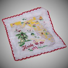 Vintage Cotton HANDKERCHIEF - State of Florida Map!